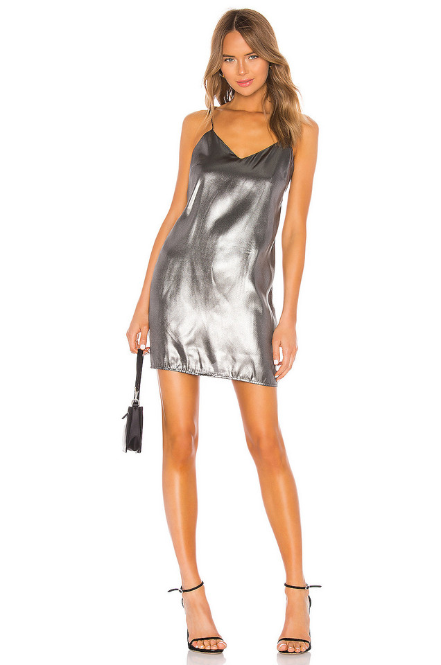 KENDALL + KYLIE X REVOLVE Liquid Shine Mini Slip Dress in metallic / silver