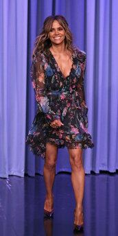 dress,floral,floral dress,plunge dress,halle berry,celebrity,spring dress