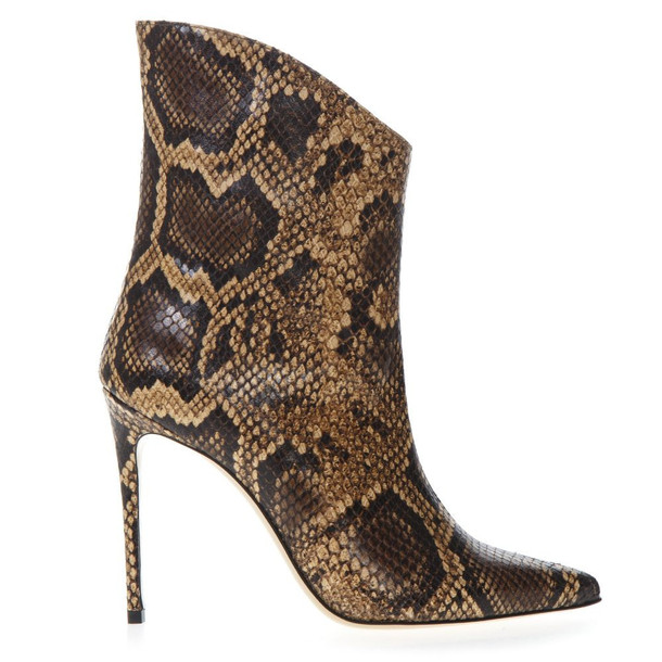 Aldo Castagna Ankle Boot In Pythoned Brown Leather