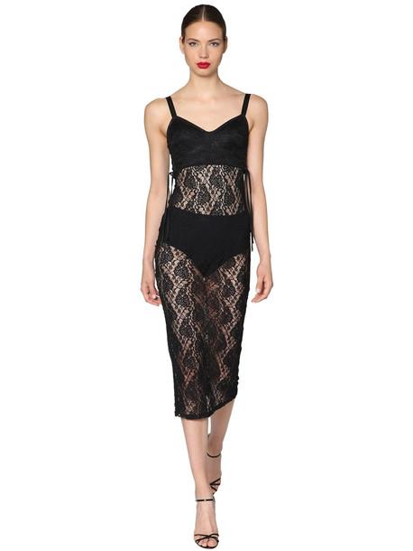 DOLCE & GABBANA Satin And Lace Midi Dress in black