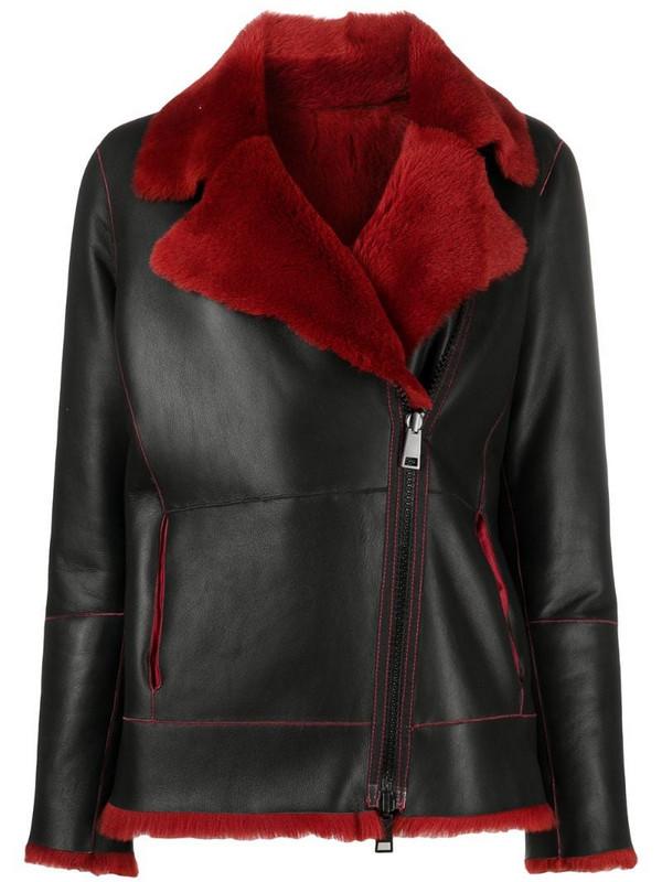 Suprema shearling-trimmed leather jacket in black
