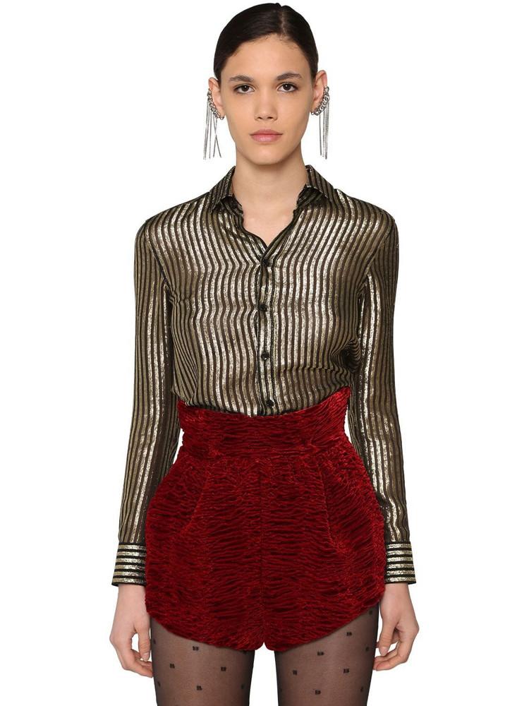 SAINT LAURENT Classic Striped Satinette Lamé Shirt in black / gold