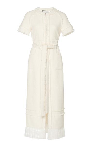 Alexis Joancy Zip-Front Tweed Dress in white