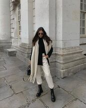 shoes,black boots,ankle boots,white pants,black sweater,scarf,black bag