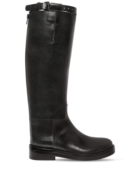 ANN DEMEULEMEESTER 30mm Brushed Leather Riding Boots in black