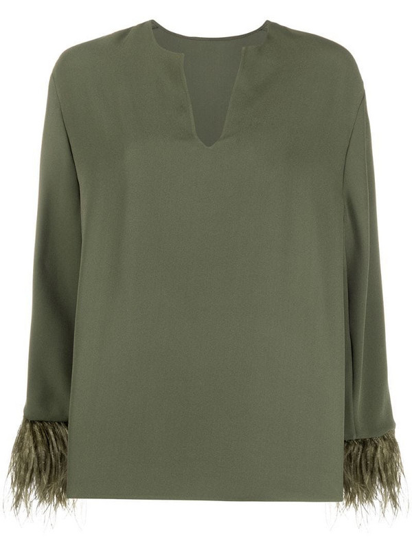 Valentino feather-embellished split neck blouse in green
