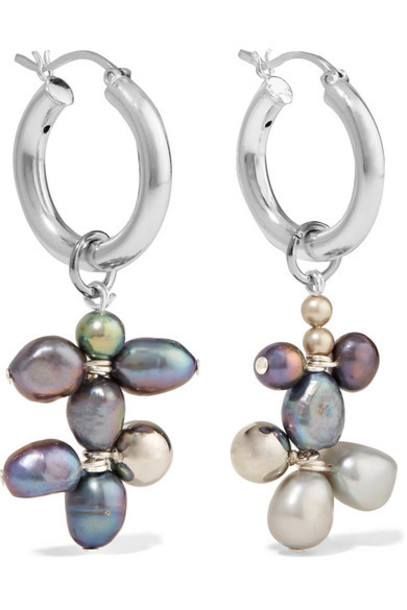 Mounser - Silver-tone Pearl Earrings - Gray