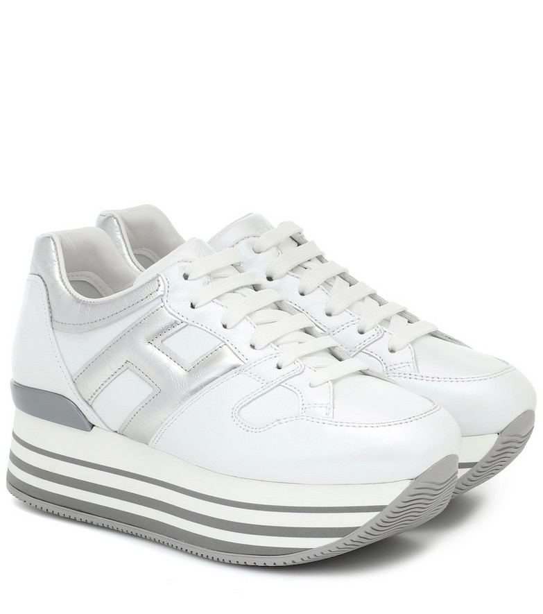 Hogan Maxi H222 leather platform sneakers in white