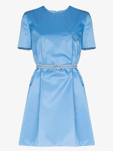 Prada gabardine nylon mini dress in blue
