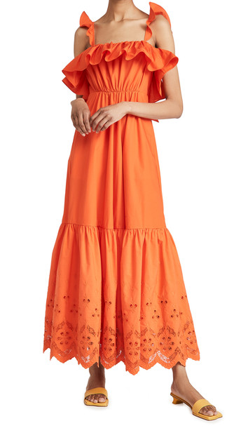 Self Portrait Cotton Broderie Maxi Dress in orange