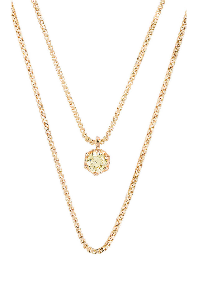 Natalie B Jewelry August Birthstone Necklace in gold / metallic