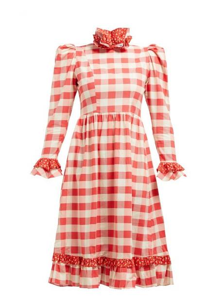 Batsheva - Ruffle Cotton Prairie Midi Dress - Womens - Red White