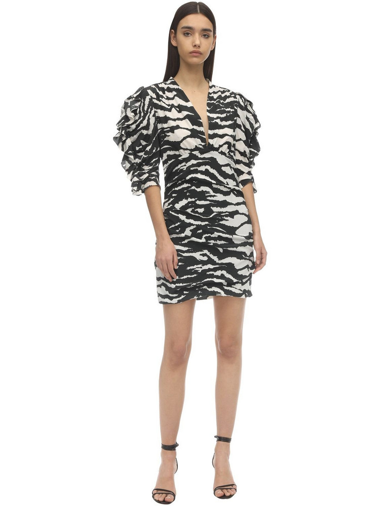 ISABEL MARANT Farah Printed Crepe De Chine Mini Dress in black / white