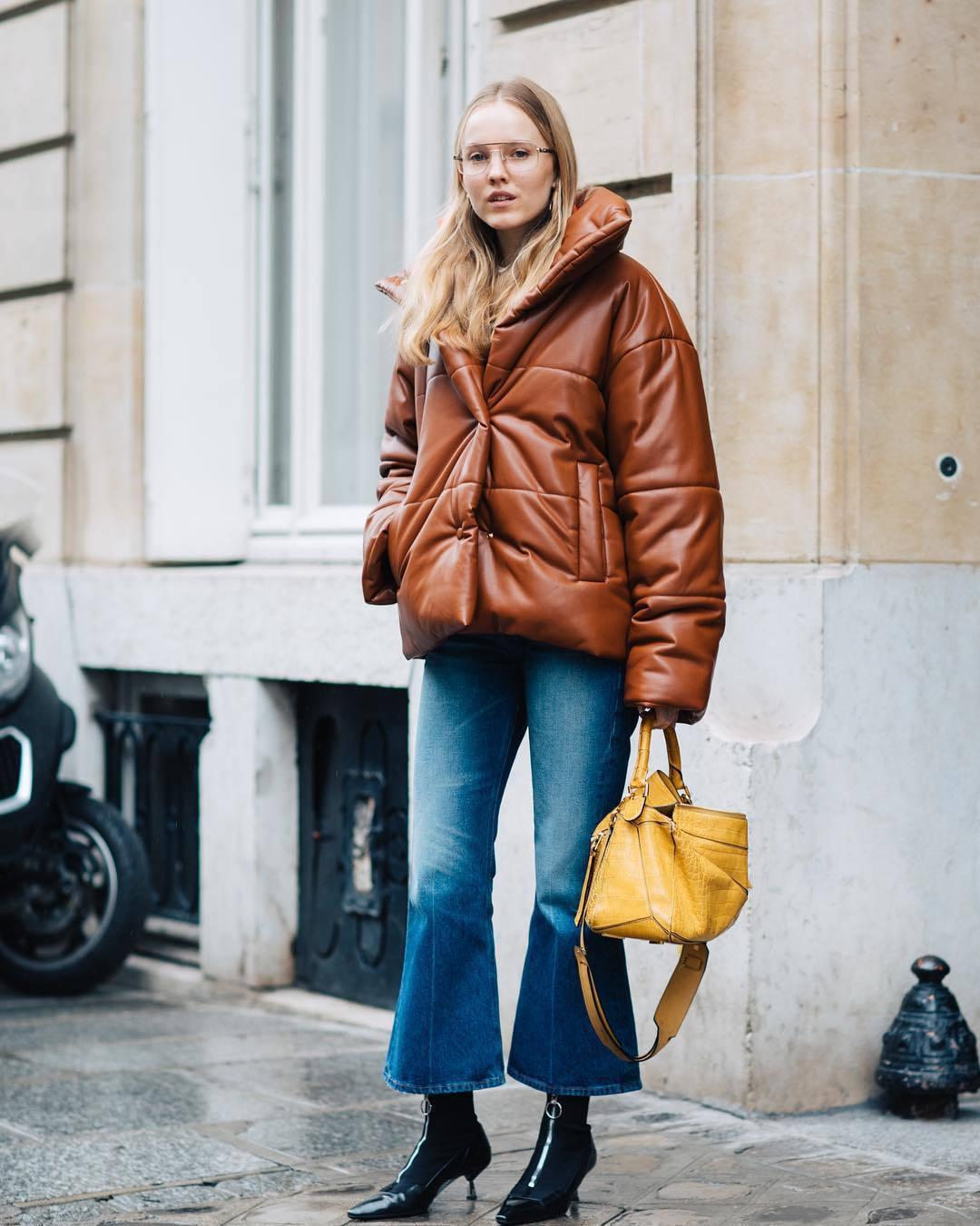 jacket puffer jacket brown jacket flare jeans ankle boots yellow bag shoulder bag