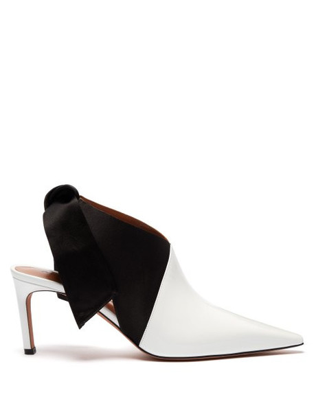 Altuzarra - Kirk Tie Heel Satin And Patent Leather Mules - Womens - Black White