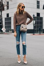 fashionjackson,blogger,sweater,jeans,shoes,bag,sunglasses,mock neck sweater,knitted sweater,pumps,ripped jeans,crossbody bag,turtleneck sweater,cropped jeans