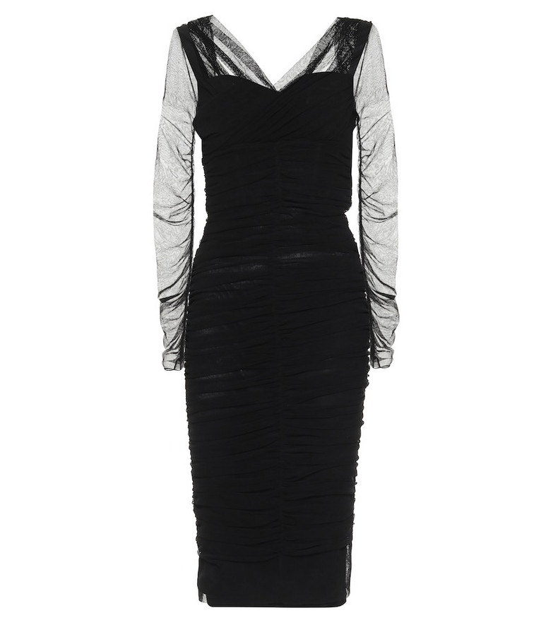 Dolce & Gabbana Cotton-blend tulle midi dress in black