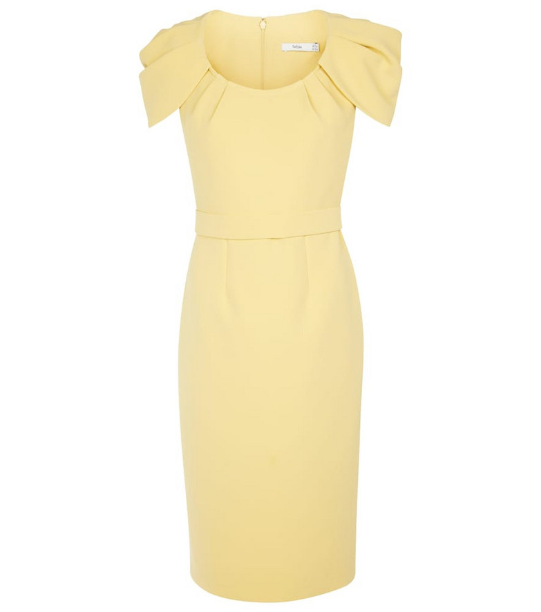 Safiyaa Stretch crêpe midi dress in yellow