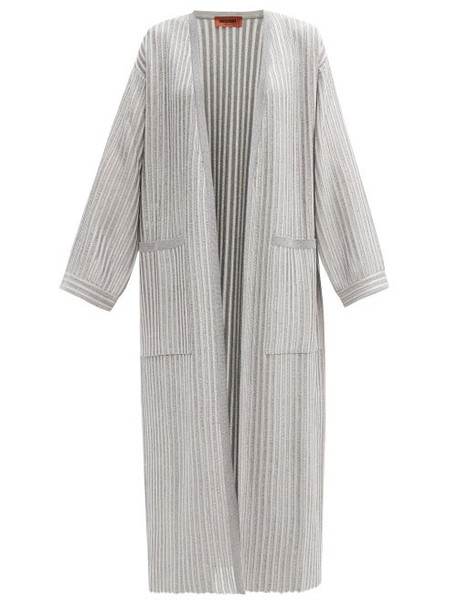 Missoni - Ladder-rib Longline Metallic-jersey Cardigan - Womens - Silver