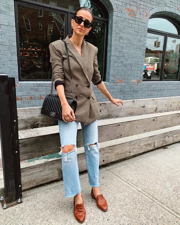 jacket plaid blazer double breasted ripped jeans straight jeans shoes black bag