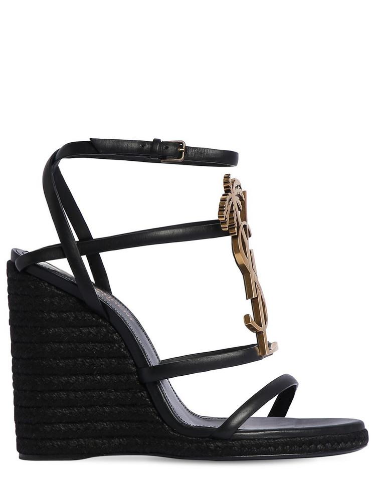 SAINT LAURENT 115mm Cassandra Leather Wedges in black