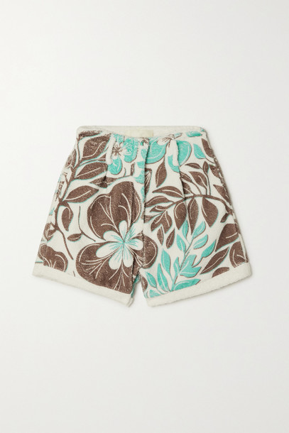 Racil - Floral-print Cotton-terry Shorts - Green
