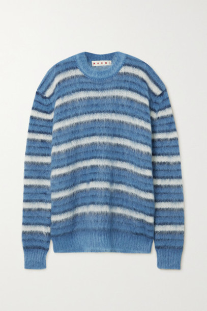 Marni - Striped Brushed Mohair-blend Sweater - Blue