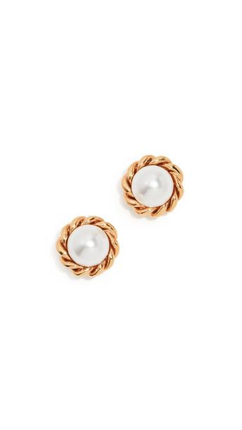 Oscar de la Renta Rope Button P Earrings in gold