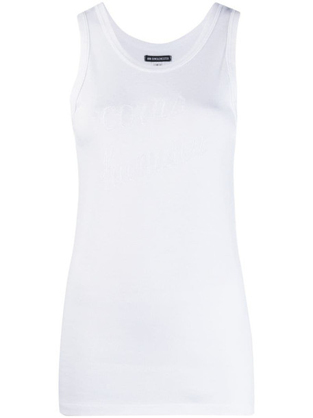 Ann Demeulemeester embroidered tank top in white