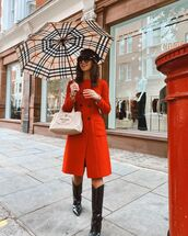 coat,double breasted,red coat,black boots,knee high boots,prada bag,beret