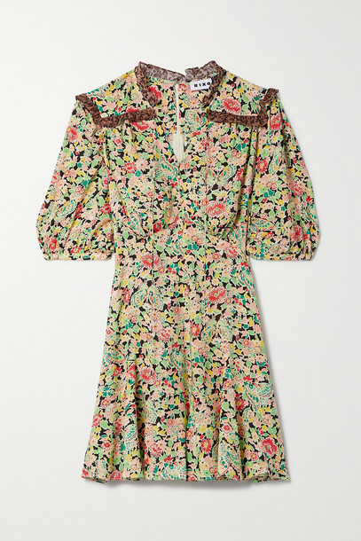 RIXO - Rina Crepe-trimmed Printed Voile Playsuit - Black