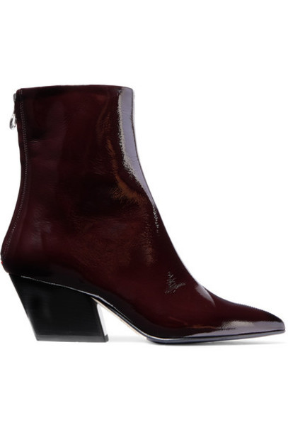 aeyde - Dahlia Crinkled Patent-leather Ankle Boots - Burgundy