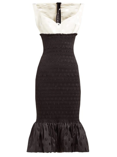 Emilio De La Morena - Shirred Polka Dot Jacquard Midi Dress - Womens - Black White