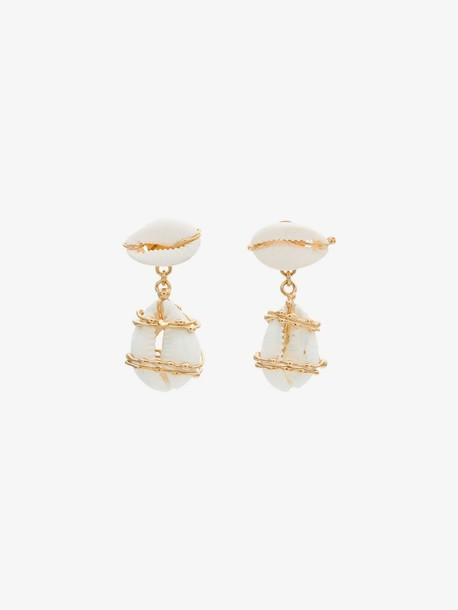 Rosantica white puka shell drop earrings