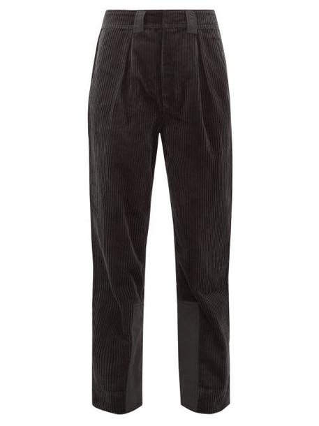 Ganni - Mid Rise Cotton Corduroy Trousers - Womens - Dark Grey