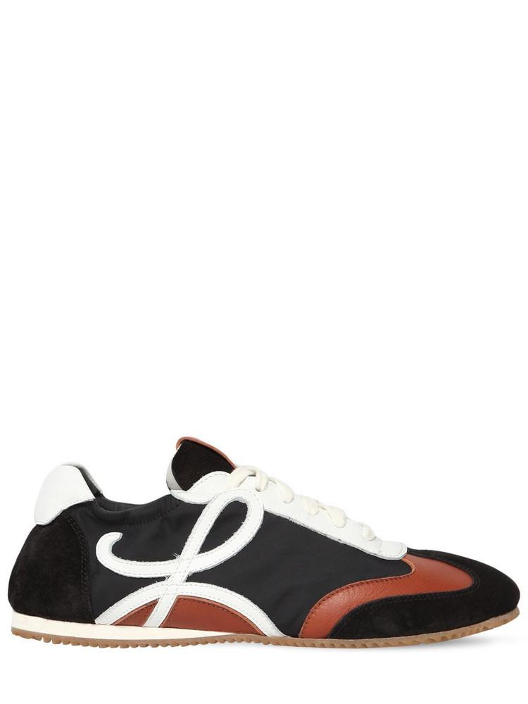 LOEWE 10mm Nylon & Suede Sneakers in black / brown