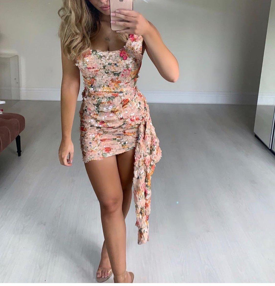 sequin floral mini dress