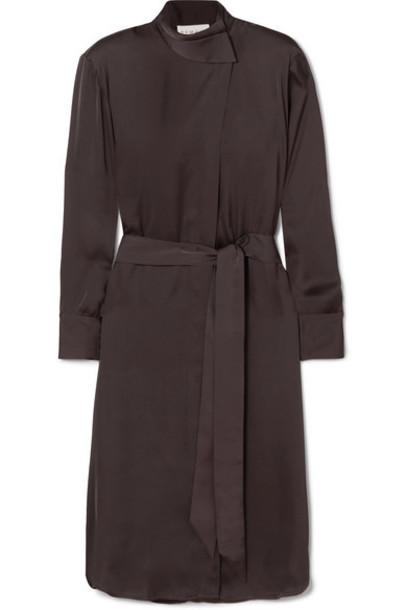 REMAIN Birger Christensen - Milan Belted Satin Dress - Dark brown