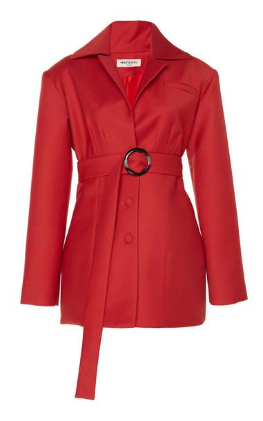 MATÉRIEL Wool-Blend Belted Corset Blazer in red