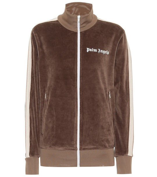 Palm Angels Chenille track jacket in brown
