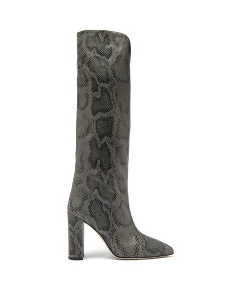 Paris Texas - Knee-high Python-effect Leather Boots - Womens - Grey