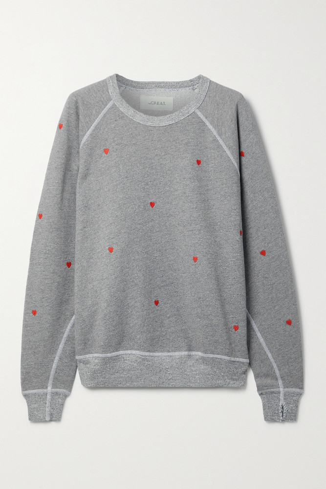 THE GREAT. THE GREAT. - The College Embroidered Cotton-blend Terry Sweatshirt - Gray