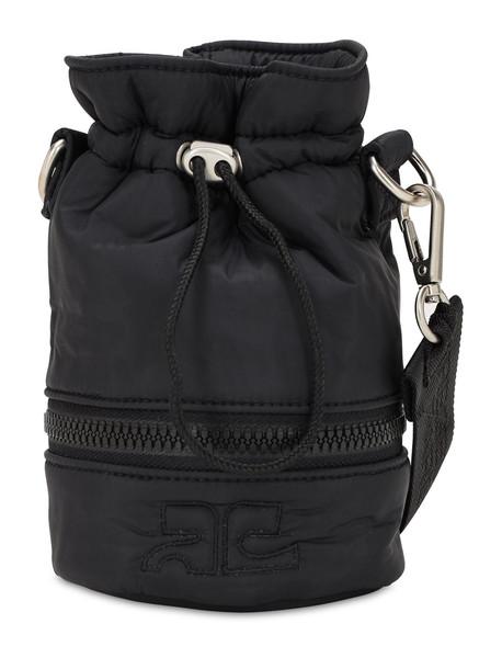 COURREGES Mini Extendable Techno Bucket Bag in black