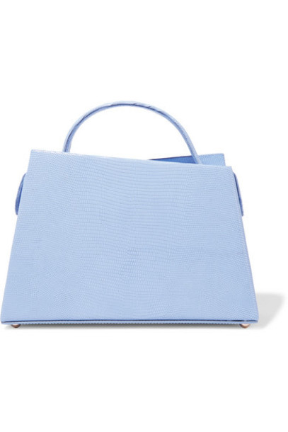 BY FAR - Maurice Lizard-effect Leather Tote - Blue