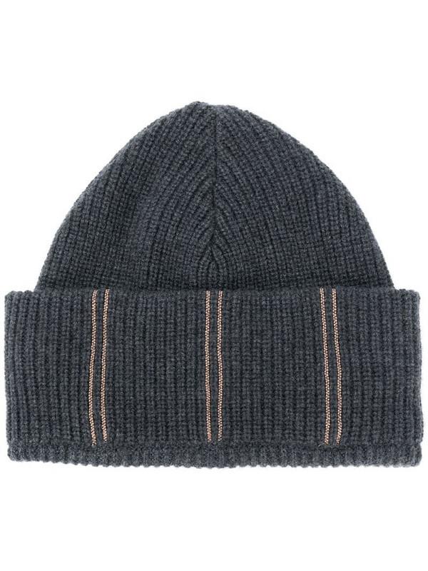 Brunello Cucinelli stripe embroidered beanie hat in black