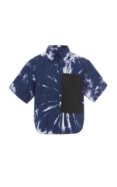 Proenza Schouler PSWL Tie-Dye Cotton-Poplin Shirt in navy