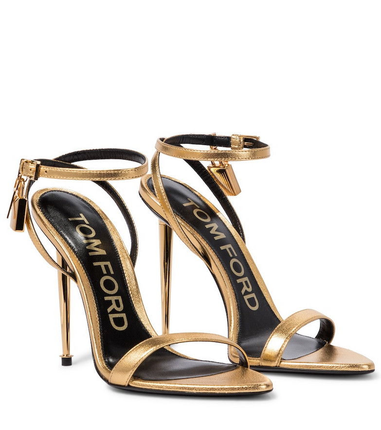 Tom Ford Padlock leather sandals in gold