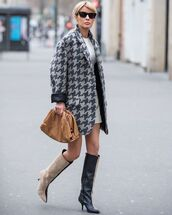 jacket,blazer,knee high boots,bag,white dress,mini dress