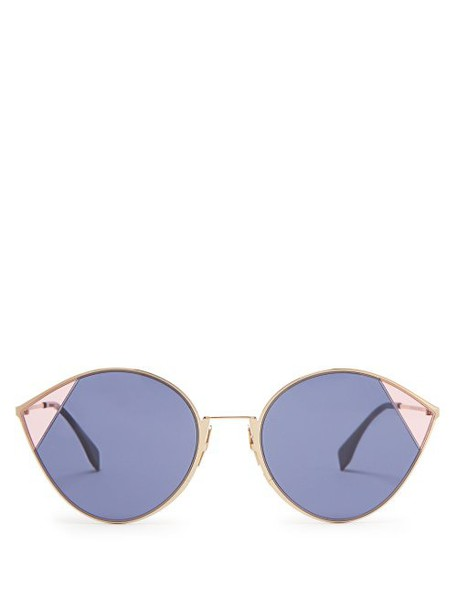 Fendi - Cat Eye Metal Sunglasses - Womens - Navy Multi