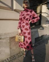 dress,midi dress,turtleneck dress,floral dress,white sandals,snake print,handbag